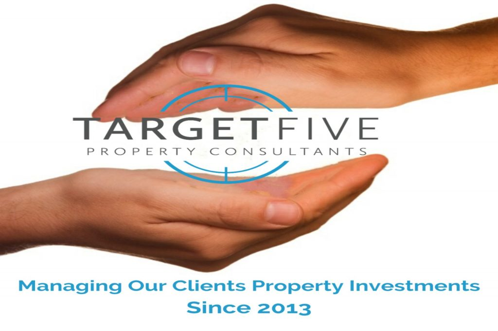 cupped hands around the Target Five Logo with caption managing our property investments since 2013