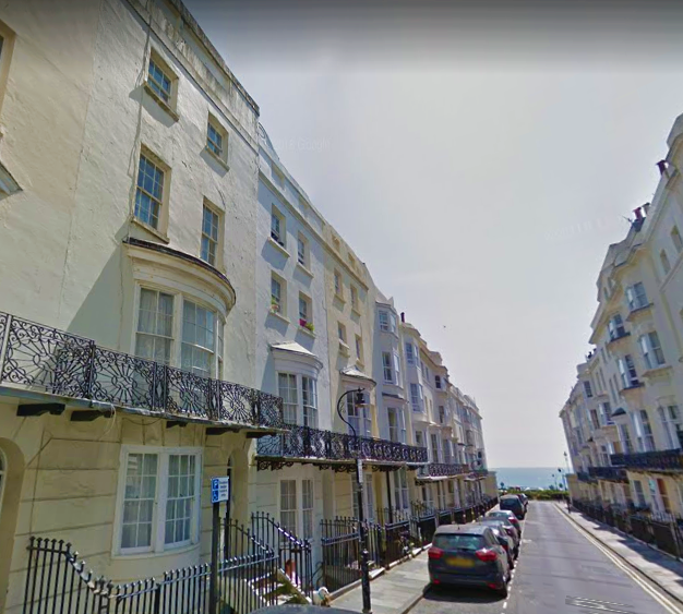 Bloomsbury Place, Brighton. Exterior photo of the street, period buildings leading down to the seafront