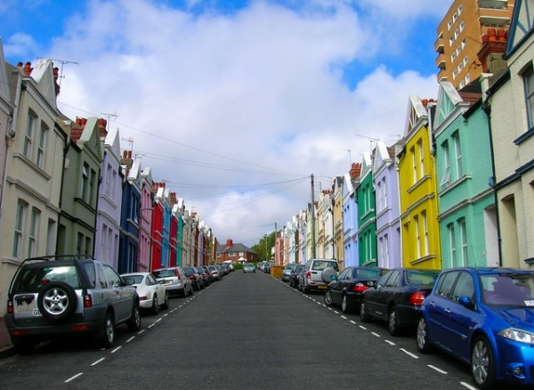 Baker Street in Brighton, the most colourful street with different painted colured exteriors of period houses